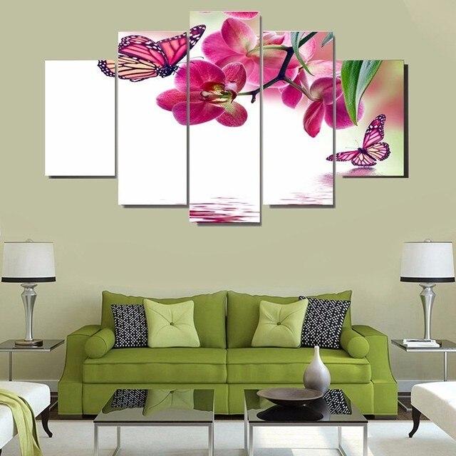 US $16 69 |5 Panels Bướm Flower Pattern Posters HD Printed Canvas Vẽ Tranh  Art Red Flowers Khách Trang Trí Phòng Wall Art Hình Ảnh trong 5