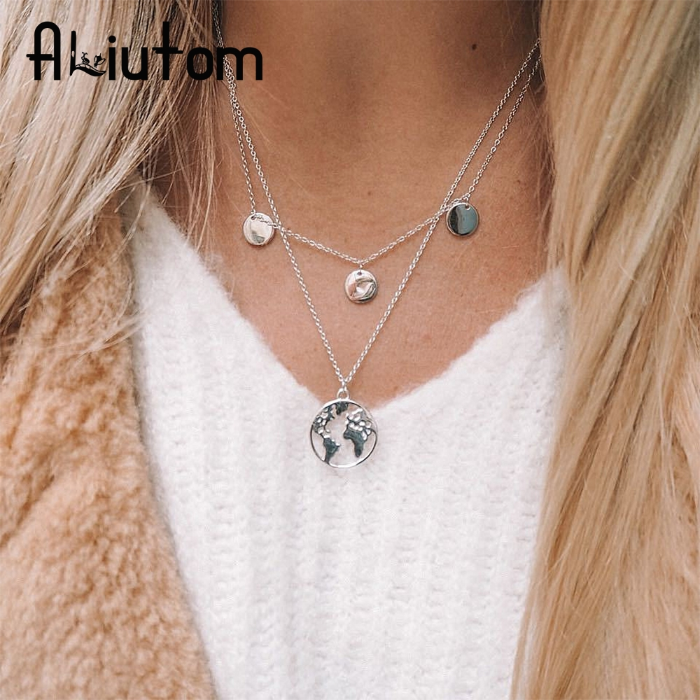 ALIUTOM World Map Pendant Necklace for Women Silver Gold Metal Dainty Globe Earth Layered Necklace Globetrotter Collares