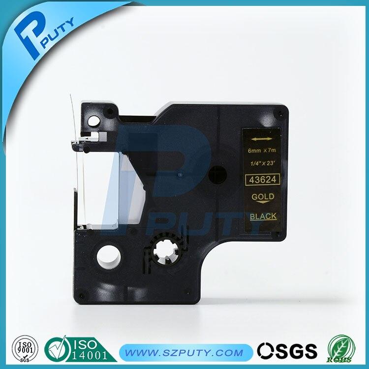 Совместимость золото на черном 43624 6 мм этикетки ленты для принтеры для этикеток dymo
