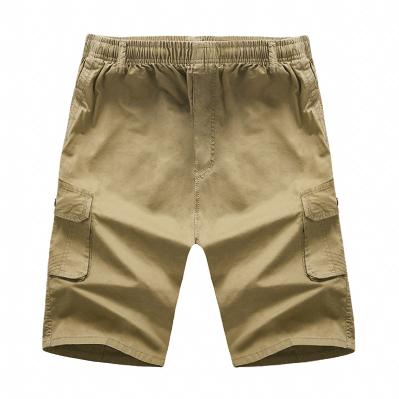 New Mens Elasticated Waist 3/4 Long Shorts Summer Cotton Beach Cargo Combat Pant Kleidung & Accessoires