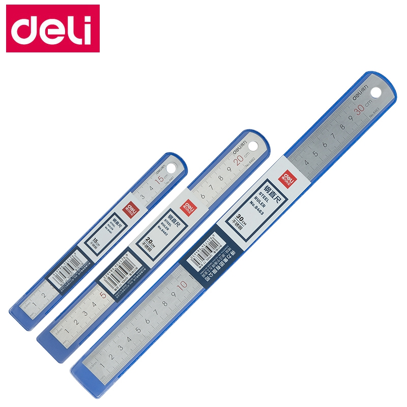 1PCS Deli 8461/8462/8463/8464 Office Desk Steel Ruler Straight Ruler Metal Ruler Stainless Steel Ruler 15cm 20cm 30cm 50cm