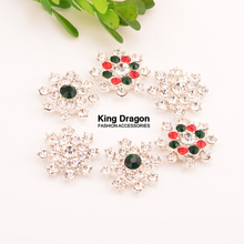 цена на Rhinestone Snowflake Button Christmas Button 22MM 100pcs/lot Flat Back Silver Color Christmas Decoration
