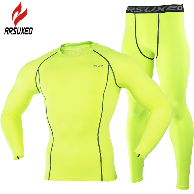 ARSUXEO 2017 Running T Shirt and Pants Men Compression Tights Underwear Cycling <font><b>Set</b></font> Bodybuilding Fitness Sport Jersey Suit 35
