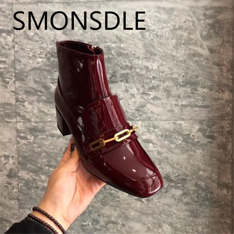 SMONSDLE New Black Red Genuine Leather Side Zipper Chunky Heel Women Boots Square Toe Patent Leather Women Winter Ankle Boots chunky heel square toe patent leather sandals