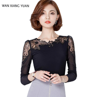 WANG XIANG YUAN Women Shirts 2017 Autumn Casual Long Sleeve Chiffon Blouse Black Lady O Neck