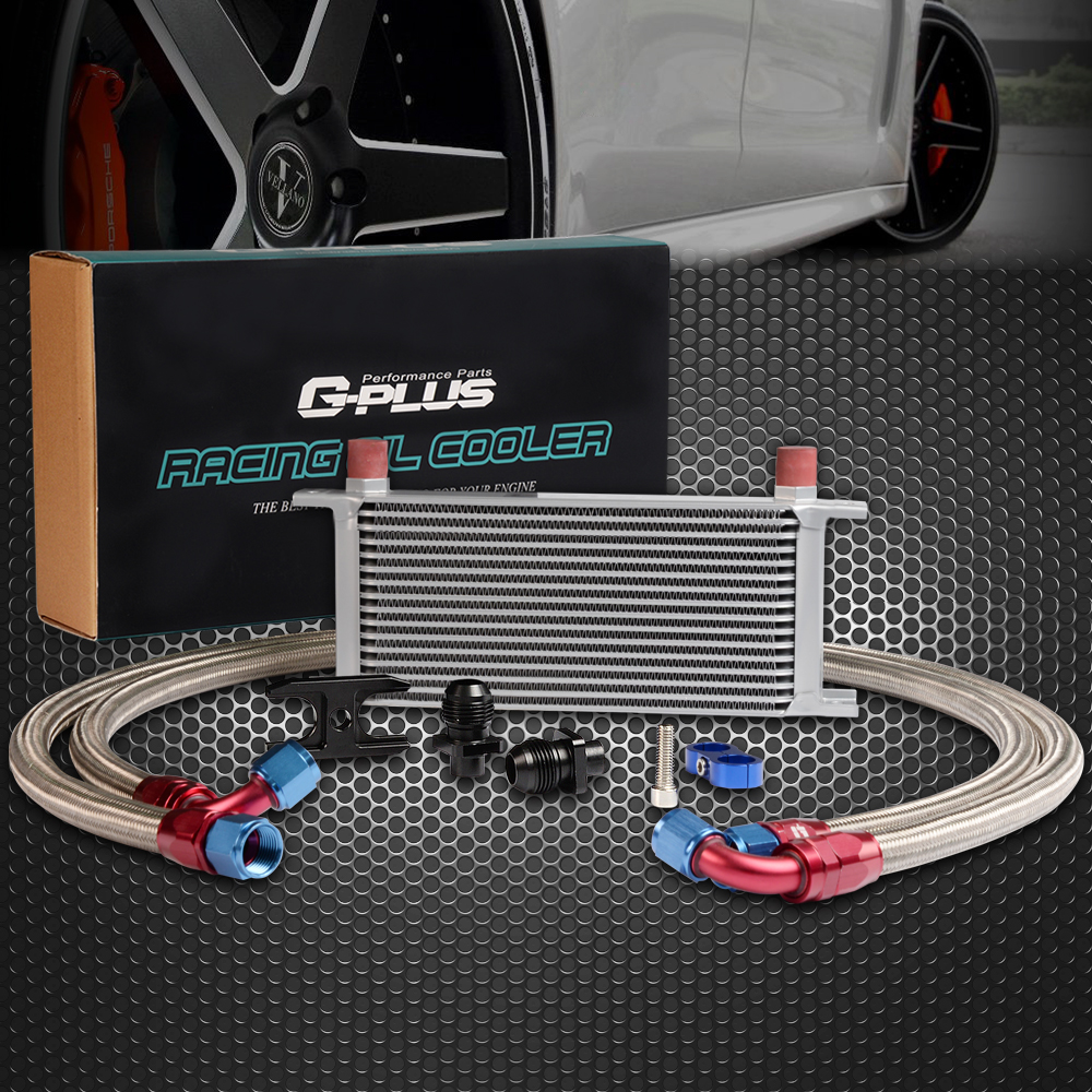 Gplus For CAR/TRUCK 16 Row Thermostat Adaptor Engine Racing Oil Cooler Kit Sliver racing new oil cap engine cover fuel for mitsubishi evo