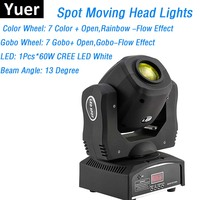 CREE LEDS White 60W Mini LED Moving Head Gobo Lights DMX Stage Spot Lights Club Dj Stage Lighting Effect DMX 9/11 Channels