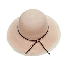 Women Wide Brim Sun Hat Big Summer UV Protect Travel Derby Beach Cap With Bow-knot Foldable Female