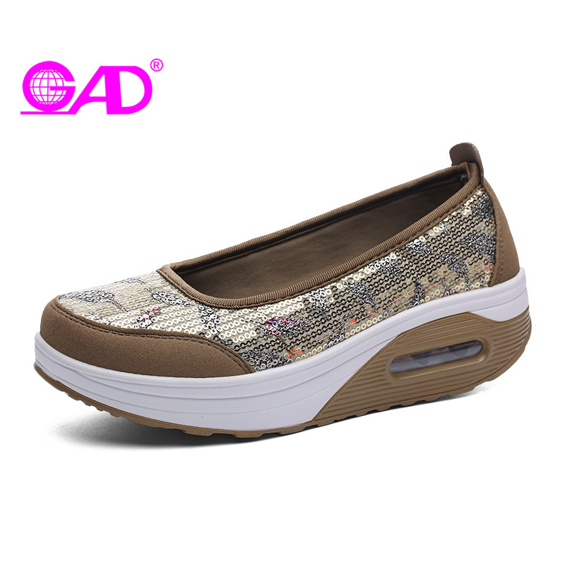 GAD Platform Sneakers Women 2018 Spring/Summer Sequins Casual Shoes Slip-on Shallow Comfortable Women Flats Large Size 35-41 cresfimix zapatos women cute flat shoes lady spring and summer pu leather flats female casual soft comfortable slip on shoes