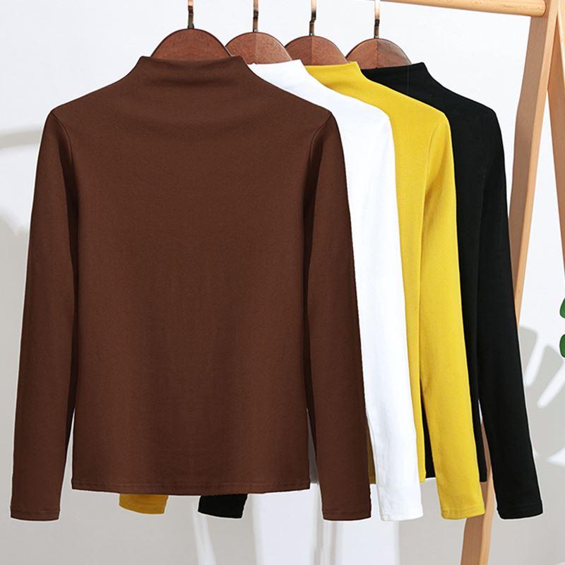 GIGOGOU Women Cotton T Shirt 2019 Spring Autumn Long Sleeve Top Tee Shirts Korea Casual Tshirt Slim Fit Ladies T-shirt