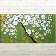 SALE Abstract Modern palette knife White Blossoms impasto oil painting on canvas by Hand Painted 60X120CM