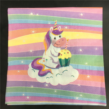 10pcs Food Grade lovely Unicorn pattern Napkin 100% Virgin Wood Tissue for Party Decoration Paper placemat