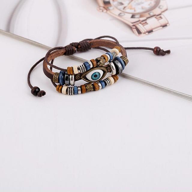 Punk Design Turkish Evil Eye Bracelets Wristband Female Genuine Leather Bracelet Ethnic Vintage Jewelry For Women Men Bijouterie