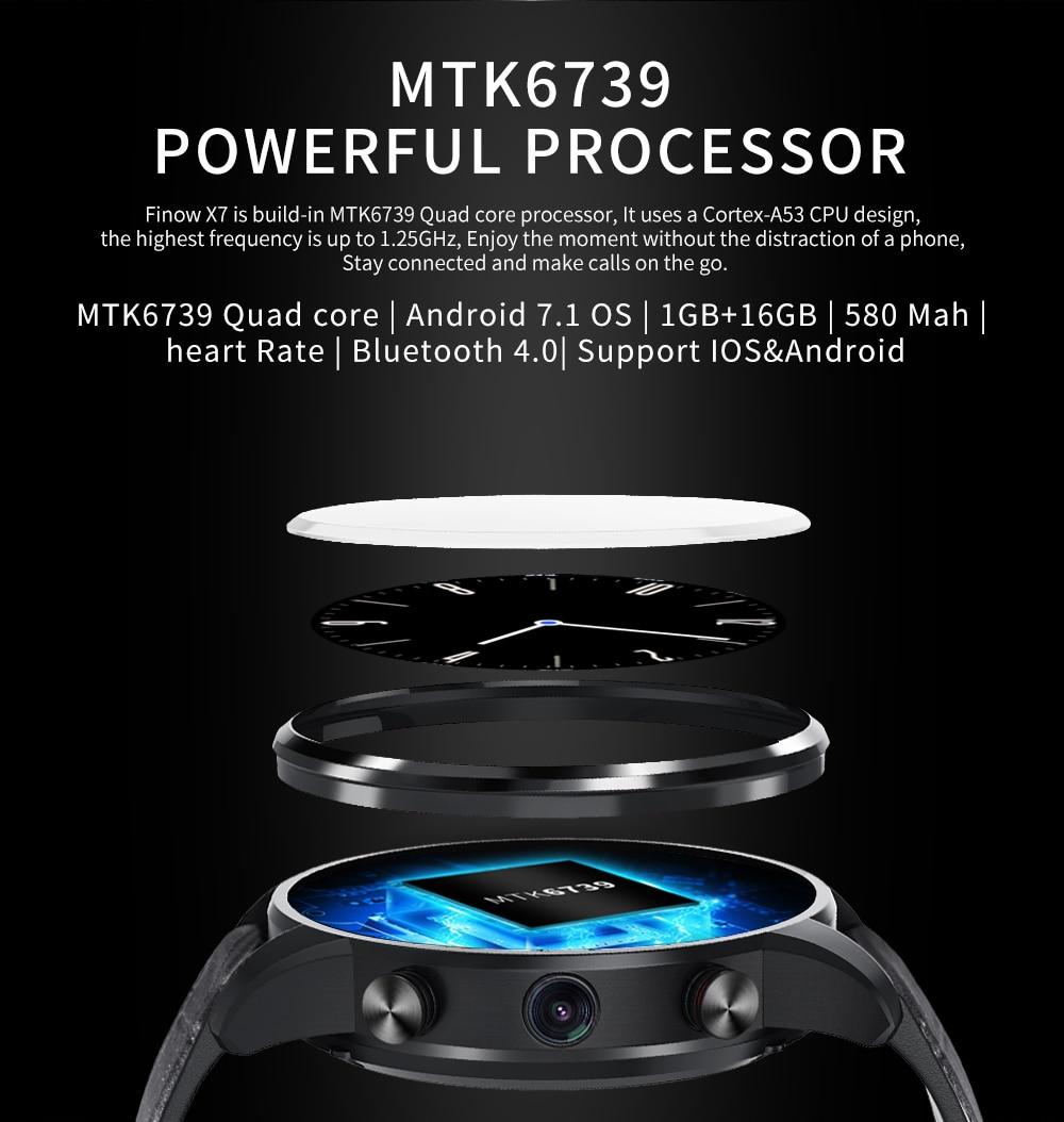 2019 New Finow X7 4G Smart Watch Men 1.39 inch AMOLED 400*400 GPS/GLONASS Quad Core 16GB 600mAh MTK6739 relogio Watch Phone Pakistan