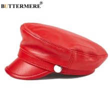 BUTTERMERE Red Military Cap Genuine Leather Army Caps Men Women Winter Hat Real Black Flat Retro Baker Boy