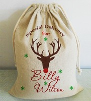 Special Delivery Custom Elk Design Christmas Santa Sack Exquisite Party Home Decorative Gift Favors Burlap Xmas