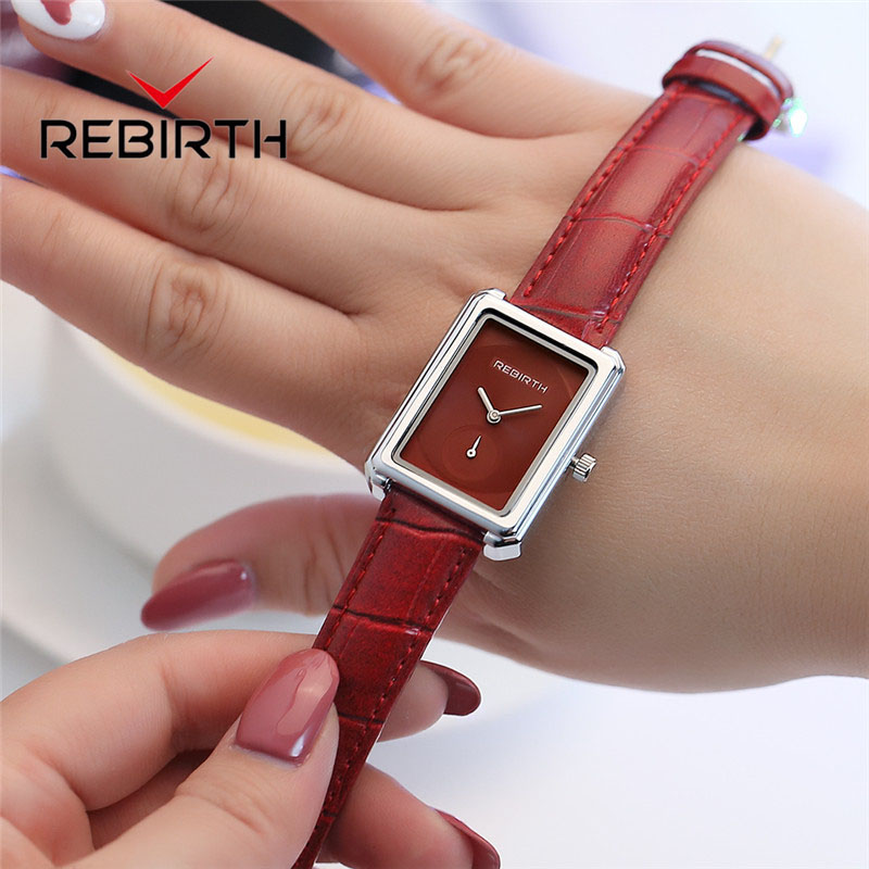 Square Watch Women Ladies Quartz Wristwatch Elegant Leather Women Watches REBIRTH Chinese Brand Luxury Female Clock Reloj Mujer