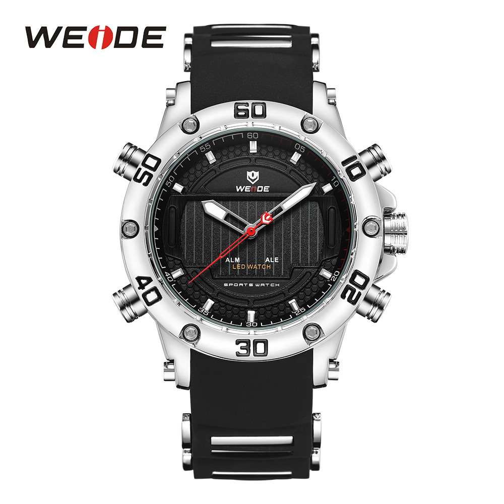 WEIDE Drop Shipping Sport Watches For Men Fashion Dual LED Black Strap Clock Military Wristwatch Waterproof Relogio Masculino brand weide fashion casual men watch black silicone strap 3atm waterproof dual display wristwatch relogio masculino sale items