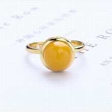 China gem fine jewelry factory wholesale 8.5mm round shape 925 sterling silver natural yellow amber adjustable ring for women
