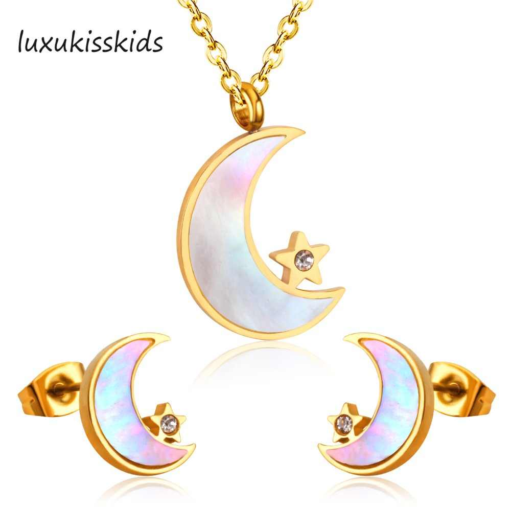 LUXUKISSKIDS New Arrival Moon and Star With Crystal Jewelry Sets Stainless Steel Golden Cut White Shell Set