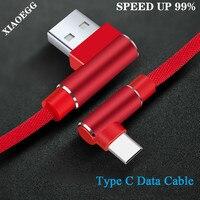 XIAOEGG 2 м Тип usb C кабель usb type-C c функцией быстрой зарядки Тип кабеля для передачи данных Шнур 90 градусов Зарядное устройство разъемом специфик...