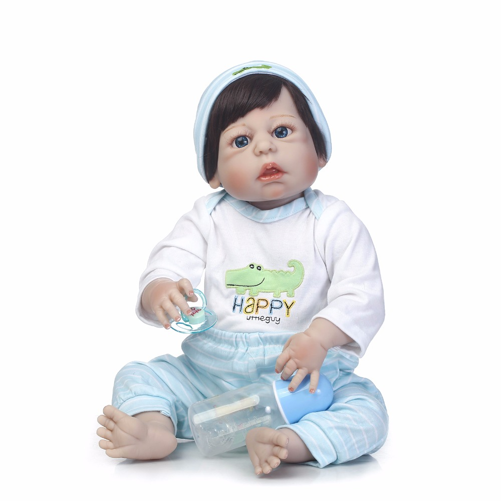 55cm Full Body Silicone Reborn Baby Doll Lifelike 22 Vinyl Newborn Boy Doll Waterproof Bathe Toys Sleeping Bedtime Toy for Kids full silicone body reborn baby doll toys lifelike 55cm newborn boy babies dolls for kids fashion birthday present bathe toy