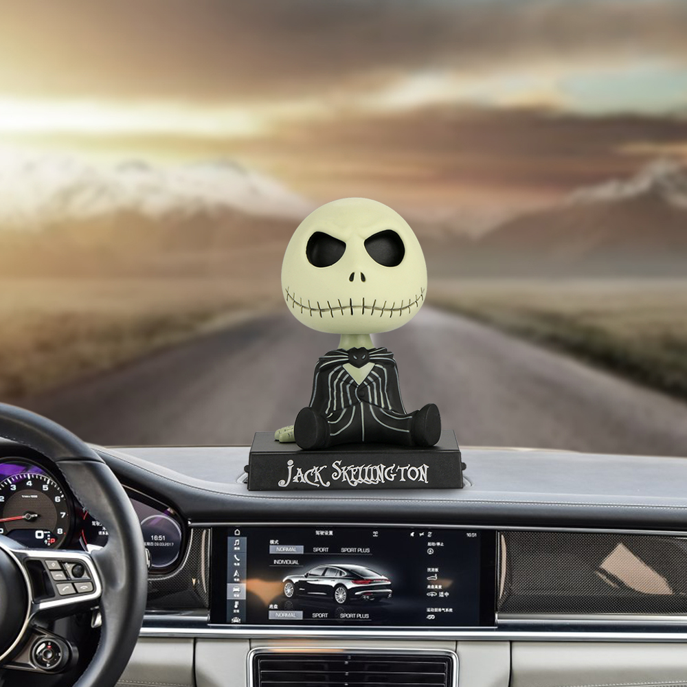 Car Ornaments PVC Jack Skeleton Action Figure Shaking Head Doll Dashboard Decoration The Nightmare Before Christmas jack Toys the nightmare before christmas halloween town pumpkin king jack wacky wobbler bobble head action figure collection toy