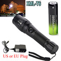 Tactical 2200 Lumen LED T6  Rechargeable 18650 Flashlight  Zoomable Universal Lamp 5 mode +18650 Battery + Charger