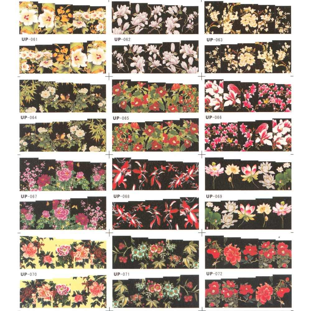 12 pak/partij WATER DECAL NAIL ART STICKER SLIDER VOLLEDIGE COVER SCHILDEREN BLOEM KERST ROSE CHINA ASTER DUIZENDBLAD UP61-72