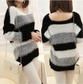 2017 pullover women Fashion Autumn/Winter Soft Mohair Striped Long Sleeve V-Neck Knitted Pullover Brand Design Sweaters W00355