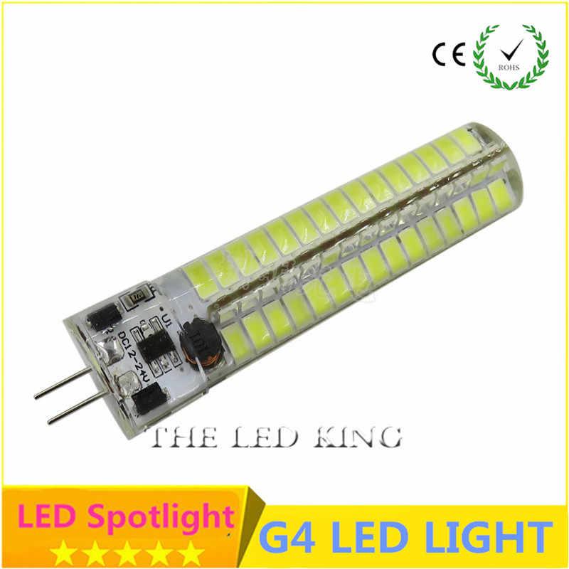 3W 5W 9W 12W 15W 21W SMD3014 G4 LED lampa DC 12 V/AC 220V żarówka silikonowa 24/32/48/64/104 152LEDs wymienić 10W 30W 50W światło halogenowe