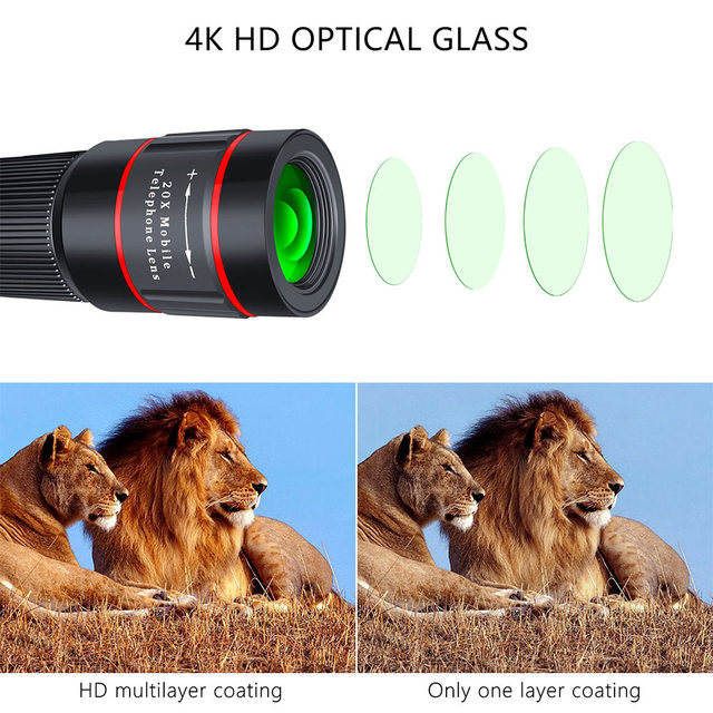 20X Zoom Telephoto Lens HD Monocular Telescope Phone Camera Lens for iPhone 11 Xs Max XR X 8 7 Plus Android Smartphone Mobile 3
