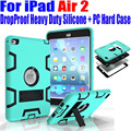 For iPad Air2 9.7 Inch Case Kids Safe Armor Drop Proof Heavy Duty Silicone TPU + PC Hard Cover + Screen Protector I614