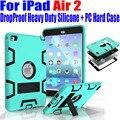 Para ipad air2 9.7 pulgadas armor case hijos seguros a prueba de caída Heavy Duty de Silicona TPU + PC Duro de La Cubierta + Protector de Pantalla I614