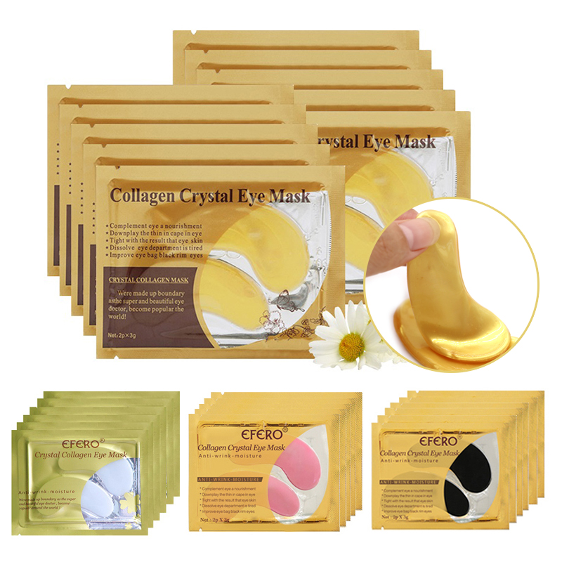 Gold Masks Crystal Collagen Eye Mask Face Mask Gel Eye Pads Skin Care Anti-Puffiness Anti-Wrinkle Aging Moisturizing Eye Patches