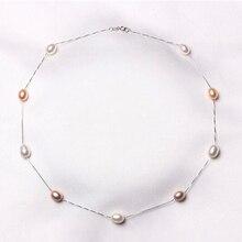 2016 Fashion7-8mm Collar de Perlas de 925 Joyas de plata de ley 100% Perlas de Agua Dulce Naturales Collar de La Joyería Para Las Mujeres Mejor Regalo
