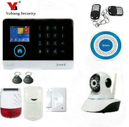 YobangSecurity WiFi GSM GPRS RFID Burglar Alarm House Surveillance Home Security System Wireless IP Camera Solar Power Siren yobangsecurity wireless wifi gsm gprs rfid home security alarm system with ip camera solar power outdoor siren smoke detector