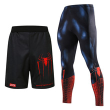 3D Print Mannen Running Shorts Panty Sets Mannen Skinny 3D Patroon Spiderman Bodybuilding Jogger Fitness Skinny Leggings Broek(China)