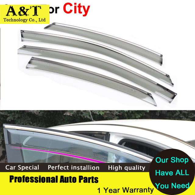 A & T do Windows viseira car styling Car Stylingg Toldo Abrigos de Chuva sol viseiras da janela para honda city 2011 2012 2013 covers adesivos