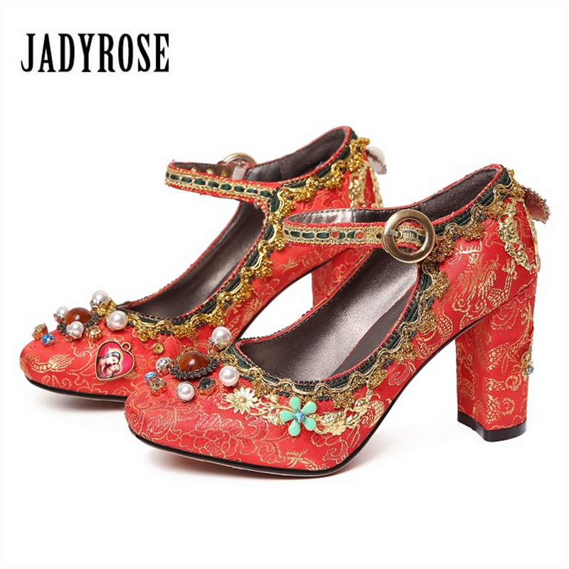 Jady Rose Retro Red Embroidered Wedding Dress Shoes Woman Mary Janes High Heels Sexy Beading Women Pumps Stiletto Valentine Shoe все цены