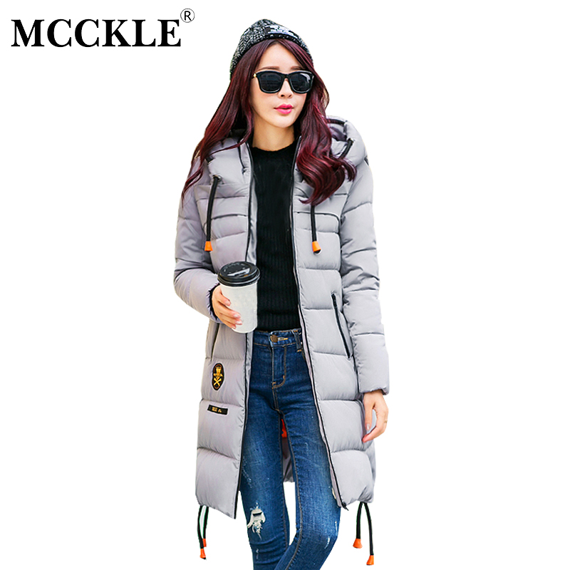 MCCKLE Winter Wadded Jacket Hooded Cotton Padded Long Coat Outwear Women Thickening Warm Parka Casual Loose Chaquetas Mujer 2015 cotton padded elderly warm thickening long cotton padded jacket mens new single breasted wholesale zipper loose coat d10