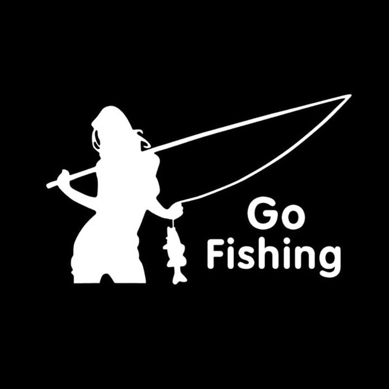 Camo fishing sticker chick woman