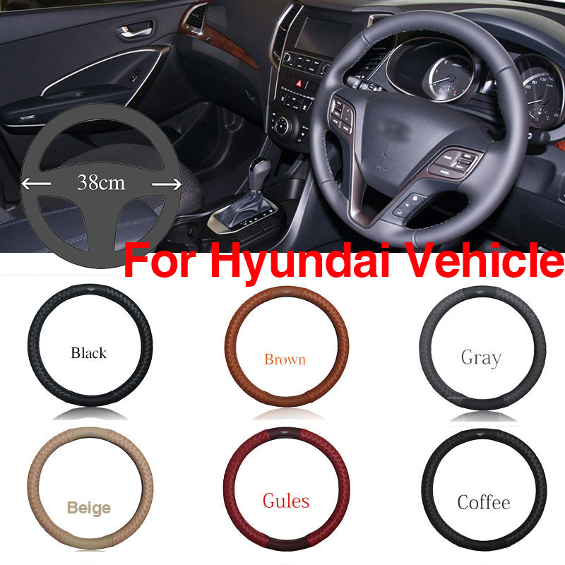 Ipoboo Top PU Leather Diamond weave Plaid Anti-Slip Steering Wheel 6 Colour Choice Cover For Hyundai Series Vehicle