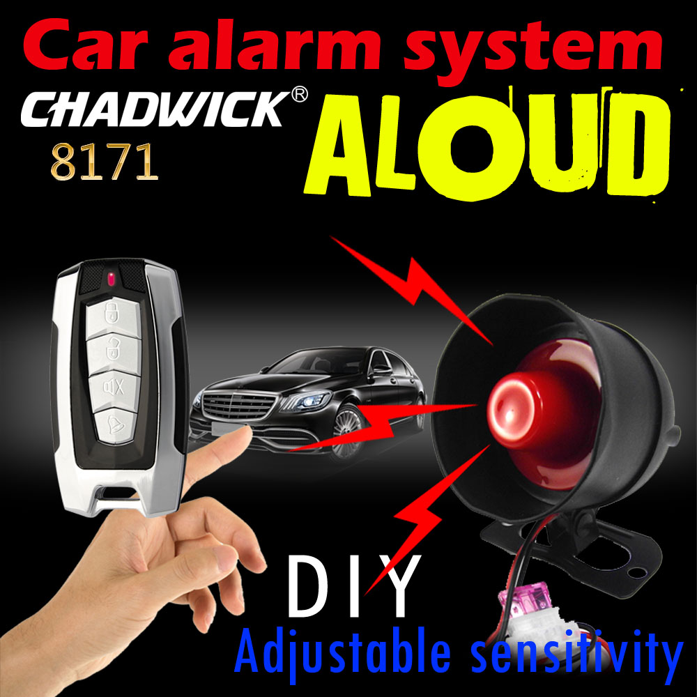 12V car alarm not cutting wire non destructive installation connect battary DIY sound aloud CHADWICK 8171 Adjustable sensitivity