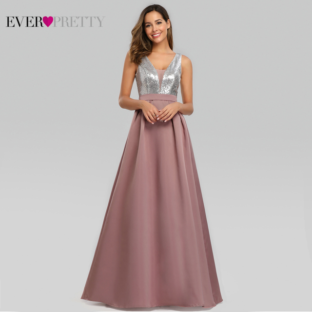 Ever Pretty V-Neck Sequined Bodice Backless A Line Long Evening Dresses Elegant Vestido De Festa Fast Shipping Satin Prom Gowns 1