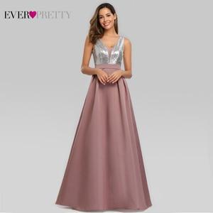 Image 1 - Ever Pretty V Neck Sequined Bodice Backless A Line Long Evening Dresses Elegant Vestido De Festa Fast Shipping Satin Prom Gowns