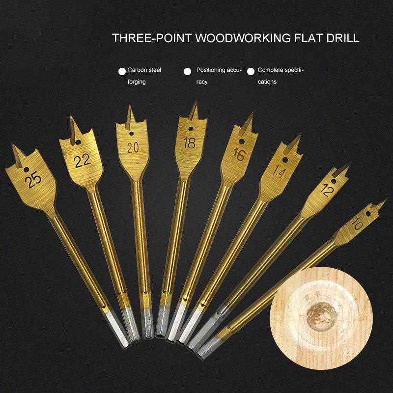 6pcs 10-25mm Woodworking Flat Drill Sets Three Sharp Flat Wood Drilled Hex Shank 1/4 Wood Plate Bore Flat Drill