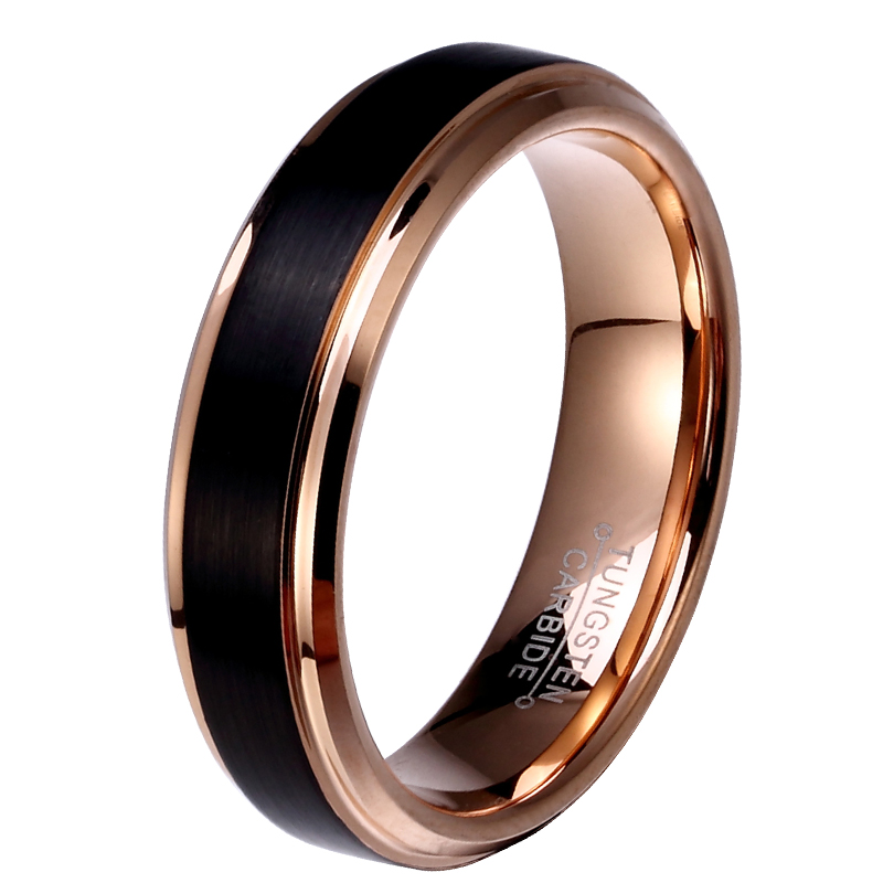 8mm 6mm 4mm Black Amp Rose Gold Plate Tungsten Carbide Wedding