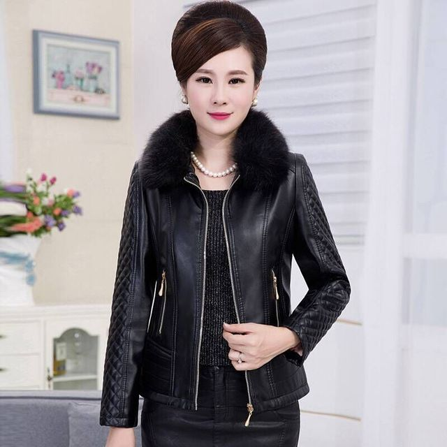 e3b1256c3ce QMGOOD Winter Mother Jacket Women Leather Coat Slim Fur Collar Cotton Liner  Thicken Warm PU Leather Outwear Female Coat Black