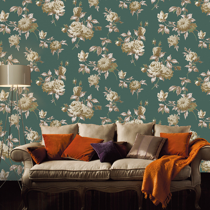 Beibehang Pure paper Wallpaper Idyllic big flower style bedroom living room sofa desktop background wallpaper roll papier peint